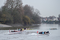 Hammersmith, GREATER LONDON. United Kingdom Both Crews approach, Hammersmith Bridge during the Cambridge University Women's Boat  Club, Trial Eights for the 2017 Boat Race The Championship Course, Putney to Mortlake on the River Thames.<br /> <br /> Monday  12/12/2016   CUWBC Trial VIII's between NEEDS on Surrey in the Yellow Boat and HALLAM on Middlesex in the White Boat<br /> <br /> HALLAM, Bow, Brittany Preston, 2, Fanny Belais, 3, Ashton Brown, 4, Kirsten van Fossen, 5, Lucy Pike, 6, Melissa Wilson, 7, Holly Hill, Stroke, Alice White, Cox, Matthew Holland.<br /> <br /> NEEDS Bow, Tricia Smith, 2, Emma Andrews, 3, Paula Wulff, 4, Oonagh Cousins, 5, Claire Lambe, 6, Anna Dawson, 7, Myriam Goudet, Stroke, Imogen Grant, Cox, Evie Lindsay.<br /> <br /> [Mandatory Credit; Peter SPURRIER/Intersport Images]