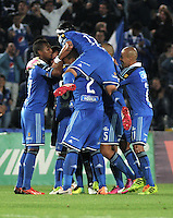 BOGOTA- COLOMBIA -19 -02-2014: Los jugadores de Millonarios celebran el gol anotado a Once Caldas durante partido de la sexta fecha de la Liga Postobon I 2014, jugado en el Nemesio Camacho El Campin de la ciudad de Bogota. / The players of Millonarios celebrate a goal scored to Once Caldas during a match for the sixth date of the Liga Postobon I 2014 at the Nemesio Camacho El Campin Stadium in Bogota city. Photo: VizzorImage  / Luis Ramirez / Staff