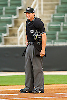 Home plate umpire Ryan Clark prior to the start of the South Atlantic League game between the West Virginia Power and the Kannapolis Intimidators at Fieldcrest Cannon Stadium on April 21, 2011 in Kannapolis, North Carolina.   Photo by Brian Westerholt / Four Seam Images
