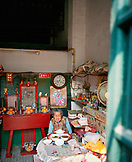 CHINA, Macau, Taipa, Asia, Old Chinese woman having lunch in her home