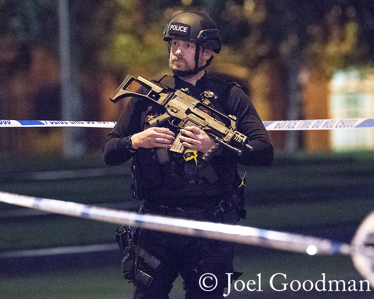 © Joel Goodman - 07973 332324 . 23/05/2017. Manchester, UK. Armed police outside Victoria Station and the Manchester Arena . Police and other emergency services are seen near the Manchester Arena after reports of an explosion. Police have confirmed they are responding to an incident during an Ariana Grande concert at the venue. Photo credit : Joel Goodman