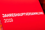 15.11.2019, Olympiahalle München , Muenchen, GER, 1.FBL,  FC Bayern Muenchen Jahreshauptversammlung 2019, DFL regulations prohibit any use of photographs as image sequences and/or quasi-video, im Bild feature  Schild Jahreshauptversammlung 2019<br /> <br />  Foto © nordphoto / Straubmeier