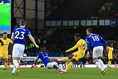 17th March 2019, Goodison Park, Liverpool, England; EPL Premier League Football, Everton versus Chelsea; Idrissa Gueye of Everton slides in to block the shot of Callum Hudson-Odoi of Chelsea