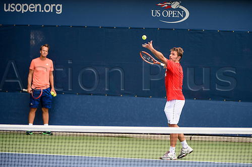 31.08.2015. New York, NY, USA.  Stan Wawrinka (SUI)(r) and Magnus Norman (l) during practice at the 2015 U.S. Open Tennis Championships at the USTA Billie Jean King National Tennis Center in Flushing, Queens, New York, USA.