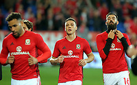 James Chester of Wales (C) runs off the pitch during the FIFA World Cup Qualifier Group D match between Wales and Republic of Ireland at The Cardiff City Stadium, Wales, UK. Monday 09 October 2017