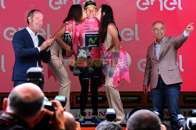 Race leader Nairo Quintana (COL) Movistar Team retains the Maglia Rosa at the end of Stage 20 of the 100th edition of the Giro d'Italia 2017, running 190km from Pordenone to Asiago, Italy. 27th May 2017.<br /> Picture: LaPresse/Gian Mattia D'Alberto | Cyclefile<br /> <br /> <br /> All photos usage must carry mandatory copyright credit (&copy; Cyclefile | LaPresse/Gian Mattia D'Alberto)