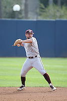 Ryne Birk (2) of the Texas A&M Aggies makes a throw during a game against the Pepperdine Waves at Eddy D. Field Stadium on February 26, 2016 in Malibu, California. Pepperdine defeated Texas A&M, 7-5. (Larry Goren/Four Seam Images)