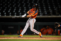 AZL Giants Orange Hunter Bishop (14) at bat during an Arizona League game against the AZL Cubs 1 on July 10, 2019 at Sloan Park in Mesa, Arizona. The AZL Giants Orange defeated the AZL Cubs 1 13-8. (Zachary Lucy/Four Seam Images)