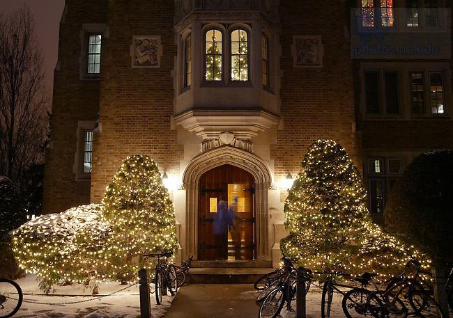 North Door of Alumni Hall with Christmas Lights