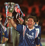 Ally McCoist with the Bell's SPL League Trophy, 1996