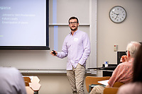 "Spencer Raub presents, ""Pardon Me: Pardon and Amnesty in the Lone Star State""<br /> Mentor: Michael Vorenberg, History<br /> Occidental College's Undergraduate Research Center hosts their annual Summer Undergraduate Research Conference on July 31, 2019. Student researchers presented their work as either oral or poster presentations at this final conference. The program lasts 10 weeks and involves independent research in all departments.<br /> (Photo by Marc Campos, Occidental College Photographer)"