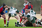 Pat Taala gets the pass away from a defensive ruck. Counties Manukau Premier Club Rugby game between Ardmore Marist and Manurewa, played at Bruce Pulman Park, Papakura on Saturday July 18th 2009..Ardmore Marist won the game 32 - 5 after leading 10 - 5 at halftime.