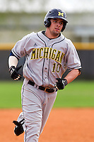 Michigan Wolverines outfielder Michael O'Neill #10 rounds the bases after hitting a home run during a game against the West Virginia Mountaineers at the Big Ten/Big East Challenge at the Walter Fuller Complex on February 19, 2012 in St. Petersburg, Florida.  (Mike Janes/Four Seam Images)