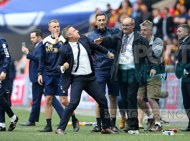 Millwall's Neil Harris celebrates at the final whistle during the League One Play-Off Final match at Wembley Stadium, London. Picture date: May 20th, 2017. Pic credit should read: David Klein/Sportimage
