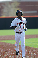 Buies Creek Astros infielder Osvaldo Duarte (2) running the bases during a game against the Winston-Salem Dash at Jim Perry Stadium on the campus of Campbell University on April 9, 2017 in Buies Creek, North Carolina. Buies Creek defeated Winston-Salem 2-0. (Robert Gurganus/Four Seam Images)