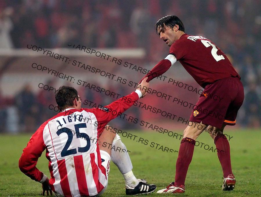 fudbal,UEFA  KUP , Sezona 2005/2006&amp;#xA;CRVENA ZVEZDA-ROMA&amp;#xA;NIKOLA ZIGIC &amp; KRISTIJAN PANUCI&amp;#xA;BGD, 01.12.2005.&amp;#xA;FOTO: SRDJAN STEVANOVIC<br />