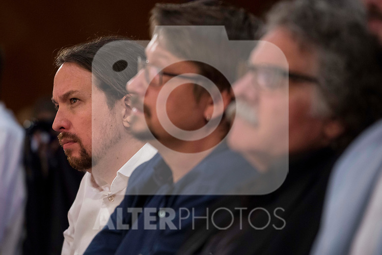 Pablo Iglesias attends to conference at Madrid Town Hall, May 22, 2017. Spain.<br /> (ALTERPHOTOS/BorjaB.Hojas)