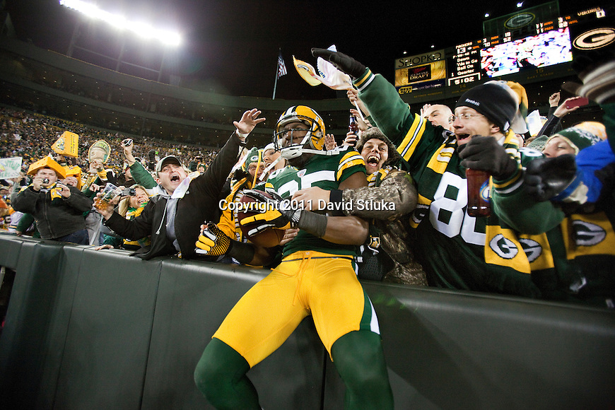 Green Bay Packers wide receiver Greg Jennings (85) celebrates a touchdown reception with a Lambeau Leap during a Week 10 NFL Monday Night Football game against the Minnesota Vikings on November 14, 2011 in Green Bay, Wisconsin. The Packers won 45-7. (AP Photo/David Stluka)