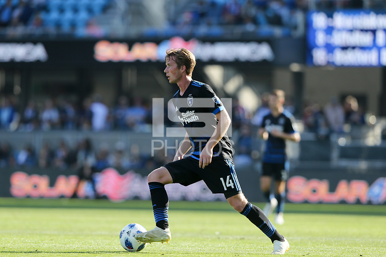 San Jose, CA - Sunday October 21, 2018: Jackson Yueill during a Major League Soccer (MLS) match between the San Jose Earthquakes and the Colorado Rapids at Avaya Stadium.