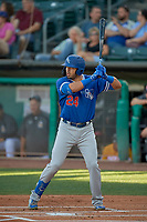 Edwin Rios (24) of the Oklahoma City Dodgers at bat against the Salt Lake Bees at Smith's Ballpark on August 1, 2019 in Salt Lake City, Utah. The Bees defeated the Dodgers 14-4. (Stephen Smith/Four Seam Images)