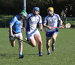1310/2015   Action from Sixmilebridge where Sr Flannen's College took on Castletroy College in the Harty Cup.  Our photograph shows Finn Gourigan, Castletroy with ball as he is chased by Adam Cassidy and Mark Corry, St Flannans.<br />
