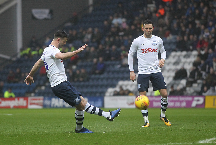 Preston North End's Andrew Hughes  misses a free kick<br /> <br /> Photographer Mick Walker/CameraSport<br /> <br /> The EFL Sky Bet Championship - Preston North End v Swansea City - Saturday 12th January 2019 - Deepdale Stadium - Preston<br /> <br /> World Copyright © 2019 CameraSport. All rights reserved. 43 Linden Ave. Countesthorpe. Leicester. England. LE8 5PG - Tel: +44 (0) 116 277 4147 - admin@camerasport.com - www.camerasport.com