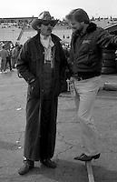 Richard Petty coboy hat longcoat garage Atlanta Journal 500 at Atlanta International Raceway in Hampton , GA on November 19, 1989.  (Photo by Brian Cleary/www.bcpix.com)