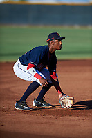 AZL Indians Red third baseman Jordan Brown (32) during an Arizona League game against the AZL Padres 1 on June 23, 2019 at the Cleveland Indians Training Complex in Goodyear, Arizona. AZL Indians Red defeated the AZL Padres 1 3-2. (Zachary Lucy/Four Seam Images)