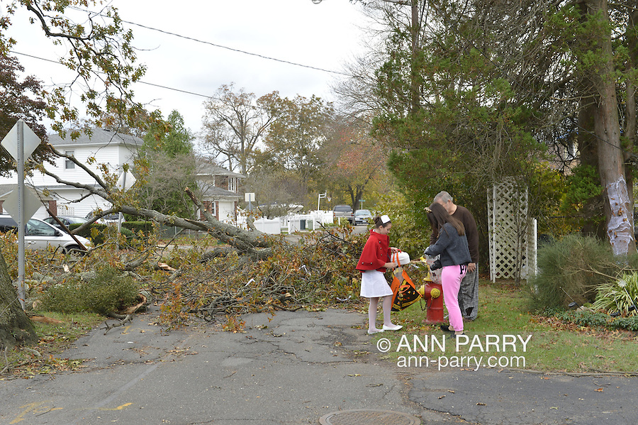 Hurricane Sandy damage on Halloween, 2012, in Merrick, New York, USA, especially in Camp Grounds