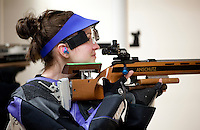 Sarah Beard (cq), with the Texas Christian University Women's Rifle Team, stands in position while shooting in a qualifying shooting match at the TCU campus in Ft. Worth, Texas, Saturday, February 12, 2011. The TCU team is undefeated this season and won the national championship last year to become the first all women's team to win the championship...CREDIT: Matt Nager for The Wall Street Journal