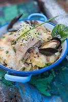 France, Nord (59),Côte d'Opale,Malo-les-Bains: Parmentier de hareng à l'ail confit, recette de Mathias Vigliano, restaurant La Cocotte //  France, Nord, Opal Coast, Malo les Bains: Parmentier herring with garlic confit, reciepe by  Mathias Vigliano, restaurant La Cocotte