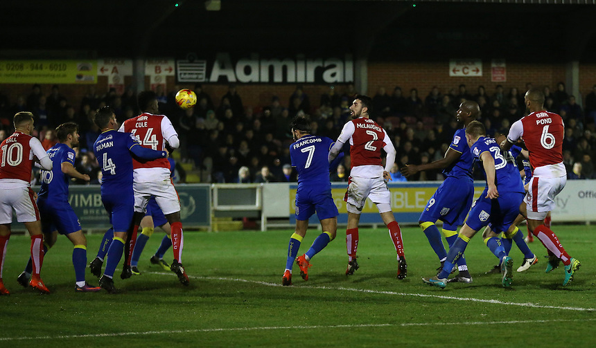 Fleetwood Town's Conor McLaughlin scores his sides second goal <br /> <br /> Photographer Rob Newell/CameraSport<br /> <br /> The EFL Sky Bet League One - AFC Wimbledon v Fleetwood Town - Saturday 26th November 2016 - The Cherry Red Records Stadium - London<br /> <br /> World Copyright &copy; 2016 CameraSport. All rights reserved. 43 Linden Ave. Countesthorpe. Leicester. England. LE8 5PG - Tel: +44 (0) 116 277 4147 - admin@camerasport.com - www.camerasport.com