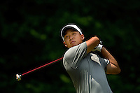 PGA golfer Anthony Kim watches his drive during the 2008 Wachovia Championships at Quail Hollow Country Club in Charlotte, NC.