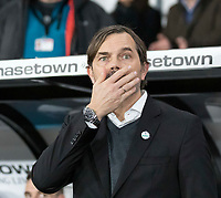 31st January 2020; Pride Park, Derby, East Midlands; English Championship Football, Derby County versus Stoke City; Derby County Manager Phillip Cocu in the team dug out before the kick off  - Strictly Editorial Use Only. No use with unauthorized audio, video, data, fixture lists, club/league logos or 'live' services. Online in-match use limited to 120 images, no video emulation. No use in betting, games or single club/league/player publications