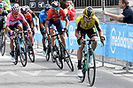 The main contenders Primoz Roglic (SLO) Team Jumbo-Visma, race leader Richard Carapaz (ECU) Movistar Team Maglia Rosa and Vincenzo Nibali (ITA) Bahrain-Merida fight it out for the finish line of Stage 19 of the 2019 Giro d'Italia, running 151km from Treviso to San Martino di Castrozza, Italy. 31st May 2019<br /> Picture: Fabio Ferrari/LaPresse | Cyclefile<br /> <br /> All photos usage must carry mandatory copyright credit (© Cyclefile | Fabio Ferrari/LaPresse)