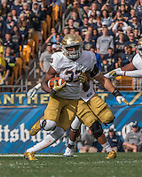 Notre Dame running back Josh Adams. The Notre Dame Fighting Irish football team defeated the Pitt Panthers 42-30 on Saturday, November 7, 2015 at Heinz Field, Pittsburgh, Pennsylvania.