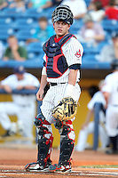 Lake County Captains catcher Roberto Perez (12) during a game vs. the Bowling Green Hot Rods at Classic Park in Eastlake, Ohio;  August 20, 2010.   Lake County defeated Bowling Green 5-3.  Photo By Mike Janes/Four Seam Images