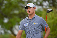 Si Woo Kim (KOR) watches his tee shot on 2 during day 2 of the Valero Texas Open, at the TPC San Antonio Oaks Course, San Antonio, Texas, USA. 4/5/2019.<br /> Picture: Golffile | Ken Murray<br /> <br /> <br /> All photo usage must carry mandatory copyright credit (&copy; Golffile | Ken Murray)