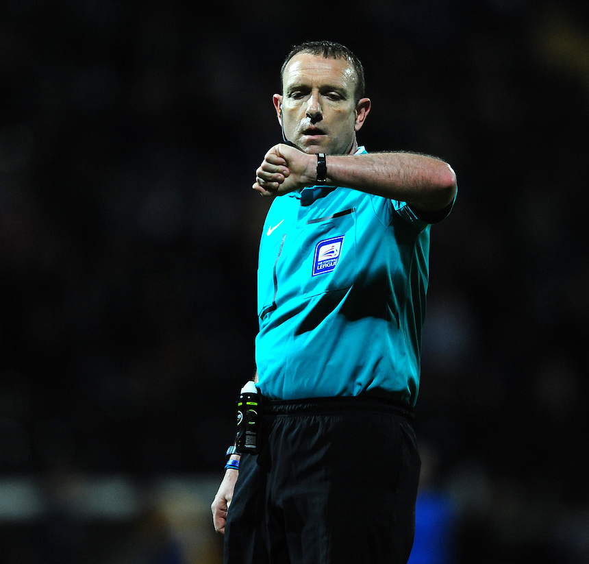 Referee Carl Boyeson<br /> <br /> Photographer Chris Vaughan/CameraSport<br /> <br /> Football - The Football League Sky Bet League One - Notts County v Preston North End - Tuesday 21st April 2015 - Meadow Lane - Nottingham<br /> <br /> &copy; CameraSport - 43 Linden Ave. Countesthorpe. Leicester. England. LE8 5PG - Tel: +44 (0) 116 277 4147 - admin@camerasport.com - www.camerasport.com