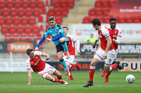 Conor McAleny of Fleetwood Town loses ball against Ben Purrington of Rotherham United during the Sky Bet League 1 match between Rotherham United and Fleetwood Town at the New York Stadium, Rotherham, England on 7 April 2018. Photo by Leila Coker.