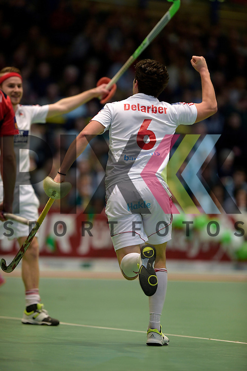 GER - Luebeck, Germany, February 06: During the 1. Bundesliga Herren indoor hockey semi final match at the Final 4 between Berliner HC (red) and Rot-Weiss Koeln (white) on February 6, 2016 at Hansehalle Luebeck in Luebeck, Germany. Final score 2-3 (HT 6-10).  Joshua Delarber #6 of Rot-Weiss Koeln<br /> <br /> Foto &copy; PIX-Sportfotos *** Foto ist honorarpflichtig! *** Auf Anfrage in hoeherer Qualitaet/Aufloesung. Belegexemplar erbeten. Veroeffentlichung ausschliesslich fuer journalistisch-publizistische Zwecke. For editorial use only.