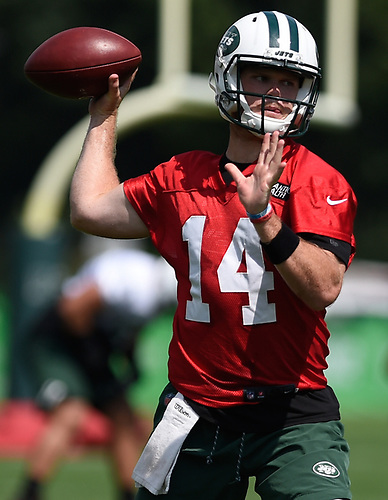 Sam Darnold #14, New York Jets rookie quarterback, throws a pass during Training Camp at the Atlantic Health Jets Training Center in Florham Park, NJ on Saturday, Aug. 18, 2018.