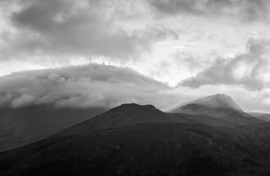 The ever changing conditions above treeline on the Presidential Range present a ton of visual opportunity such as this image of Mt. Washington and Monroe rendered in Black and White.