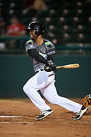 Daytona Tortugas second baseman Dilson Herrera (2) follows through on a swing during a game against the Jupiter Hammerheads on April 13, 2018 at Jackie Robinson Ballpark in Daytona Beach, Florida.  Daytona defeated Jupiter 9-3.  (Mike Janes/Four Seam Images)