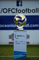 The trophy stands on display before the Oceania Football Championship final (second leg) football match between Team Wellington and Auckland City FC at David Farrington Park in Wellington, New Zealand on Sunday, 7 May 2017. Photo: Dave Lintott / lintottphoto.co.nz