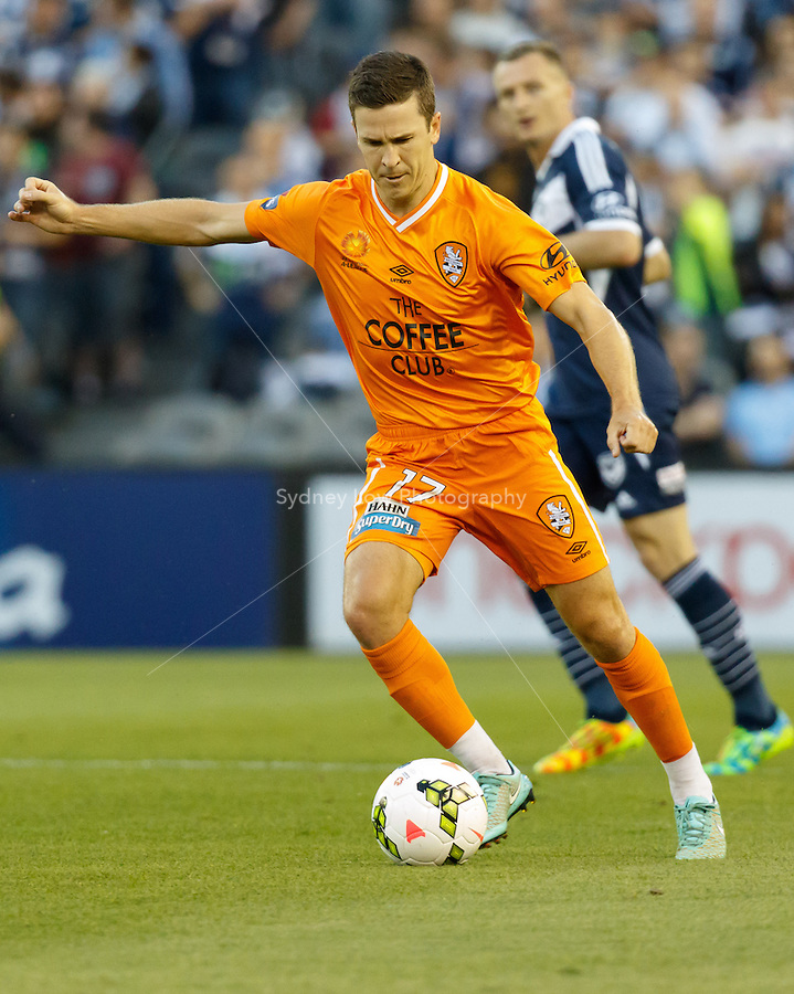 Matt MCKAY of the Roar kicks the ball in the round seven match between Melbourne Victory and Brisbane Roar in the Australian Hyundai A-League 2014-15 season at Etihad Stadium, Melbourne, Australia.