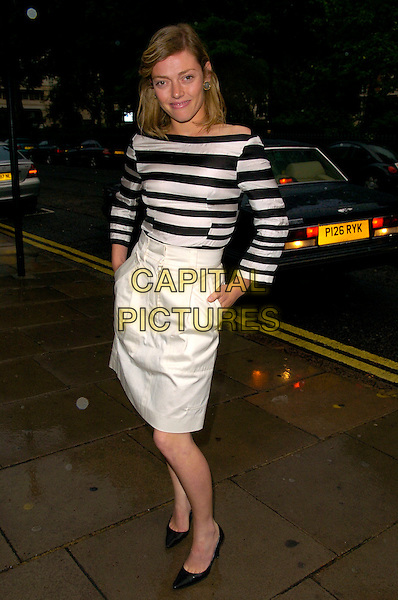 CAMILLA RUTHERFORD .The Tatler Summer Party, Home House, London, England..June 27th, 2007.full length white high waist waisted skirt hands in pocket black striped stripes top .CAP/CAN.©Can Nguyen/Capital Pictures