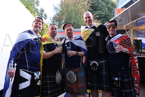 07.09.2014. Dortmund, Germany.   international match Germany Scotland  in Signal Iduna Park in Dortmund. Scottish supporters outside the Arena