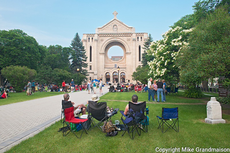 Celebrating Canada Day on the Irst of July on the grounds of the Saint-Boniface Cathedral<br />
