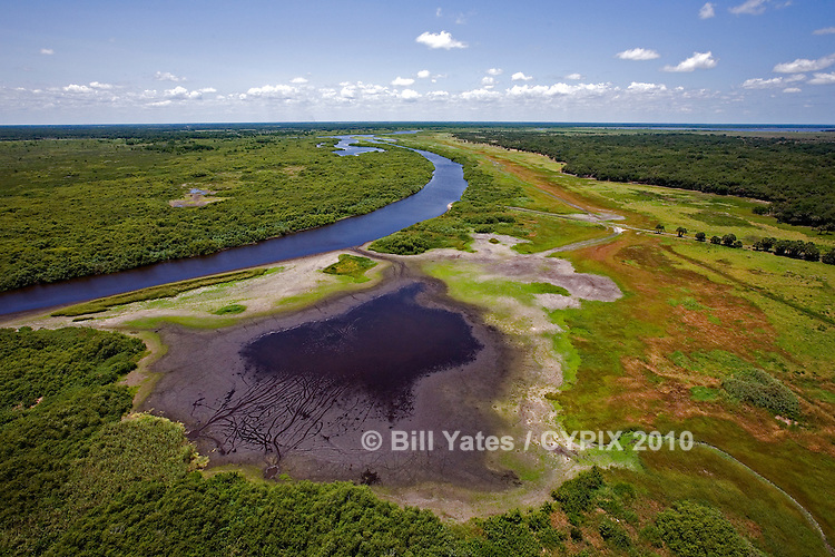 North view of the St. Johns River (upper basin) River Lakes Conservation Aera Florida helicopter aerial